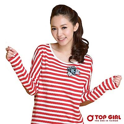 【TOP GIRL】 經典美式潮流條紋長版棉T - 火熱紅