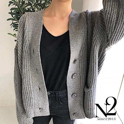 外套 正韓落肩設計V領顯瘦針織外套(灰) N2