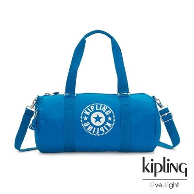 Kipling 復古藍搶眼大LOGO圓筒旅行袋-ONALO