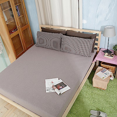Saint Rose 品味空間-可可 100%純棉針織雙人床包一入