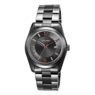 LICORNE 力抗錶 都會簡約系列 經典手錶-黑x玫瑰金/39mm