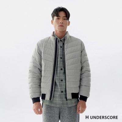 Hang Ten-男裝-簡約拉鍊厚羽絨外套-灰