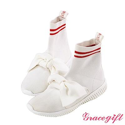Disney collection by grace gift蝴蝶結運動風襪套鞋 白