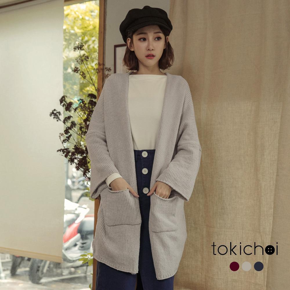 東京著衣 慵懶美人多色寬袖開襟針織長版外套(共三色)