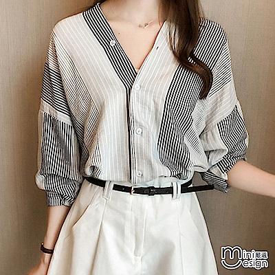 條紋V領七分袖襯衫 黑色-mini嚴選 @ Y!購物