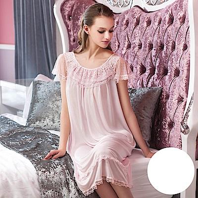 華歌爾睡衣-舒適 M-L 長裙裝(白)