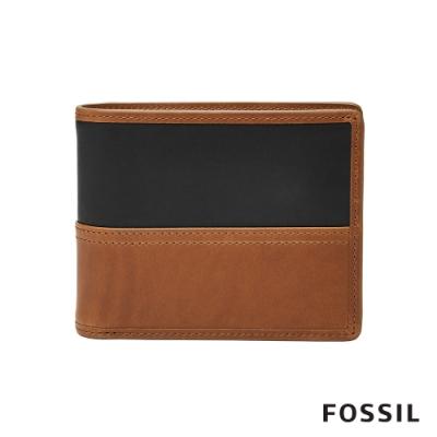 FOSSIL Tate 撞色真皮RFID男夾-焦糖色 ML3846222