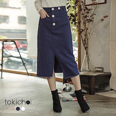 東京著衣 時髦韓妞多色高腰開衩斜邊牛仔裙-S.M.L(共三色)