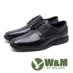W&M 低調壓紋方頭紳士綁帶男皮鞋-黑