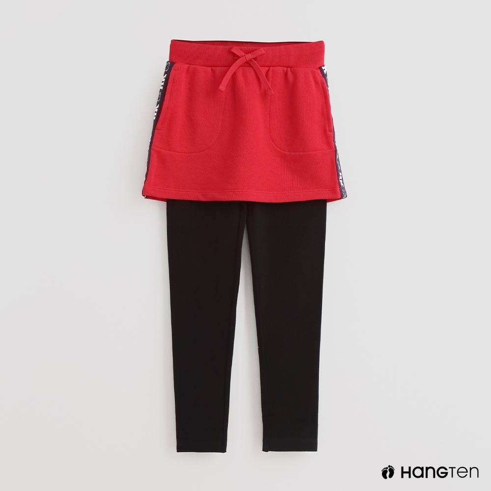 Hang Ten - 童裝 - 假兩件附裙擺休閒長褲 - 紅