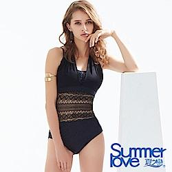 夏之戀SUMMERLOVE 性感蕾絲大女連身三角泳衣