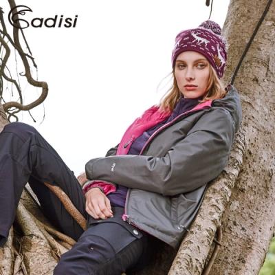 ADISI 女兩面穿連帽撥水羽絨外套AJ1621023 (S~2XL) 深灰/洋紅