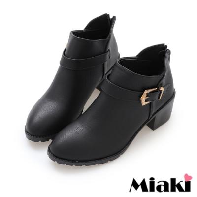 Miaki-短靴秋冬首選尖頭中跟踝靴-黑
