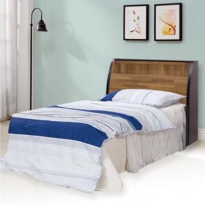 文創集 麥波時尚3.5尺木紋單人床台組合(床頭箱+床底)-152x9x114cm免組