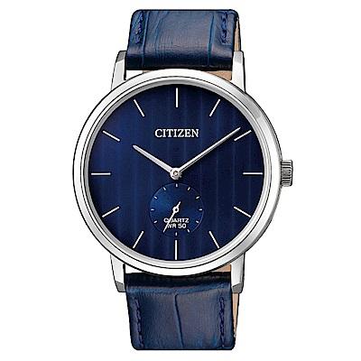CITIZEN  卓越精英小秒針石英腕錶(BE9170-05L)-藍/39mm