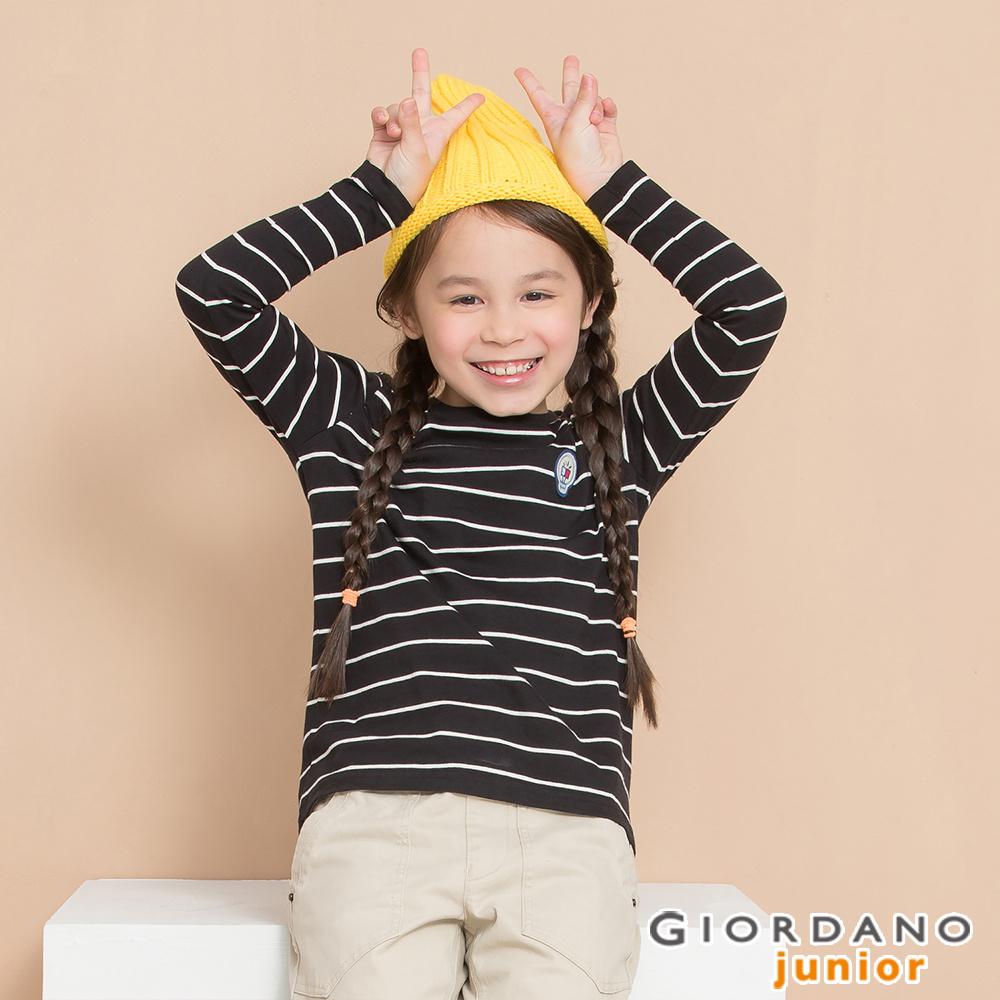 GIORDANO  童裝條紋長袖立體徽章T恤-07 標誌黑X古典奶油