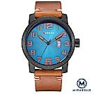 Mirabelle 數字大錶盤 撞色日期皮革男錶 棕帶藍面45mm