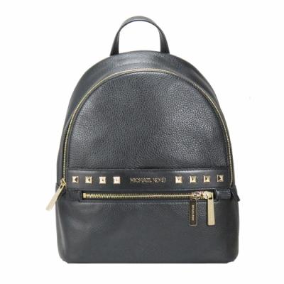 Michael Kors KENLY鉚釘裝飾荔枝紋皮革後背包(黑)