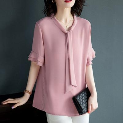初色  純色領結雪紡衫-粉紅色-(M-2XL可選)