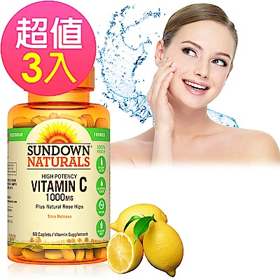Sundown日落恩賜 緩釋型C 1000MG Plus玫瑰果錠x3瓶(60錠/瓶)