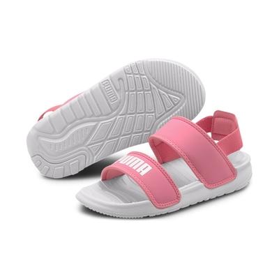 PUMA Soft Sandal PS 中大童 涼鞋-粉白-37569503