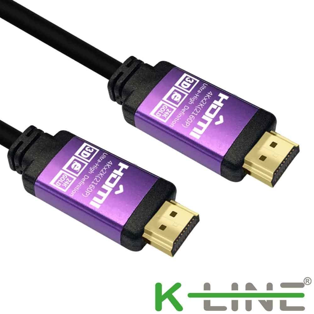 K-line HDMI to HDMI 公對公4K高畫質鋁殼影音傳輸線 黑/3M