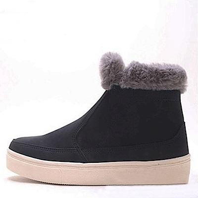 【AIRKOREA韓國空運】暖冬超保暖內鋪毛短筒靴雪靴平底靴-黑
