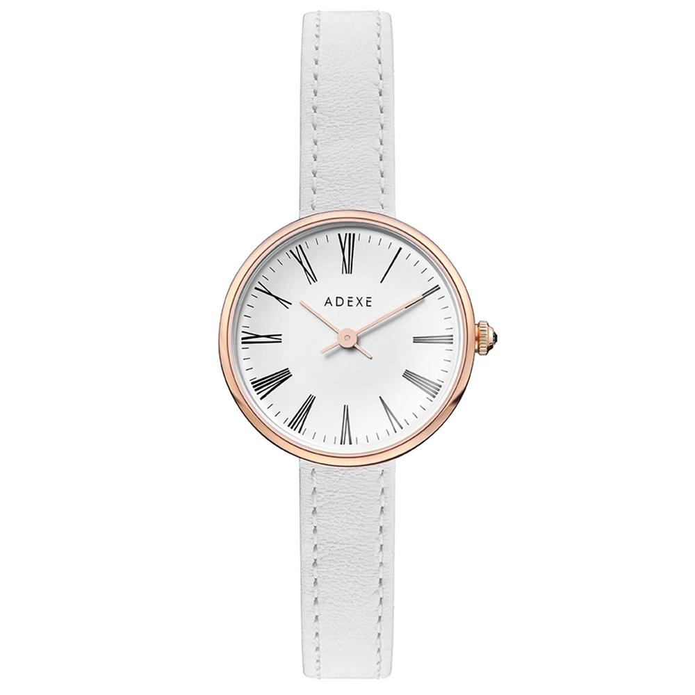 ADEXE 英國手錶 MINI SISTINE羅馬刻度 白錶盤皮革錶帶x玫瑰金錶框30mm