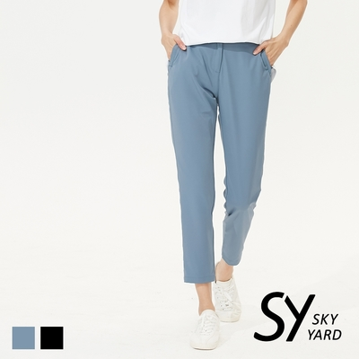 【SKY YARD 天空花園】簡約立體壓褶彈性直筒八分褲-藍色