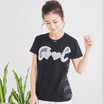 【白鵝buyer】 愛心Cool刺繡拼接小珍珠棉T恤_黑