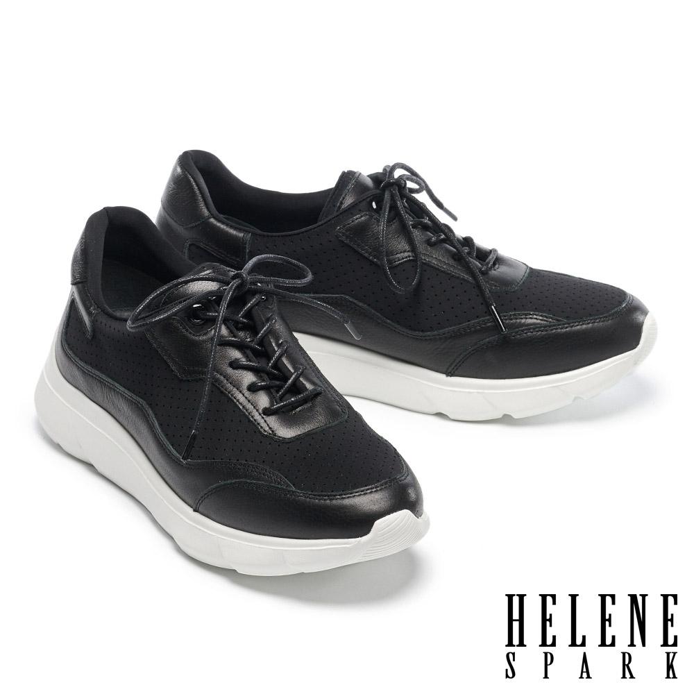 休閒鞋 HELENE SPARK 率性街頭時髦牛皮異材質拼接厚底休閒鞋-黑