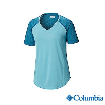 Columbia 哥倫比亞女款-UPF15快排短袖上衣-孔雀藍 UAK26710