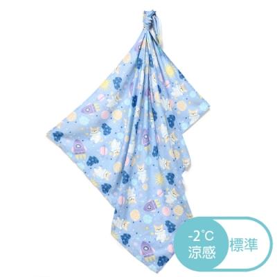 【La Millou】嬰兒包巾_竹纖涼感巾-星空胖柯基(藍底)