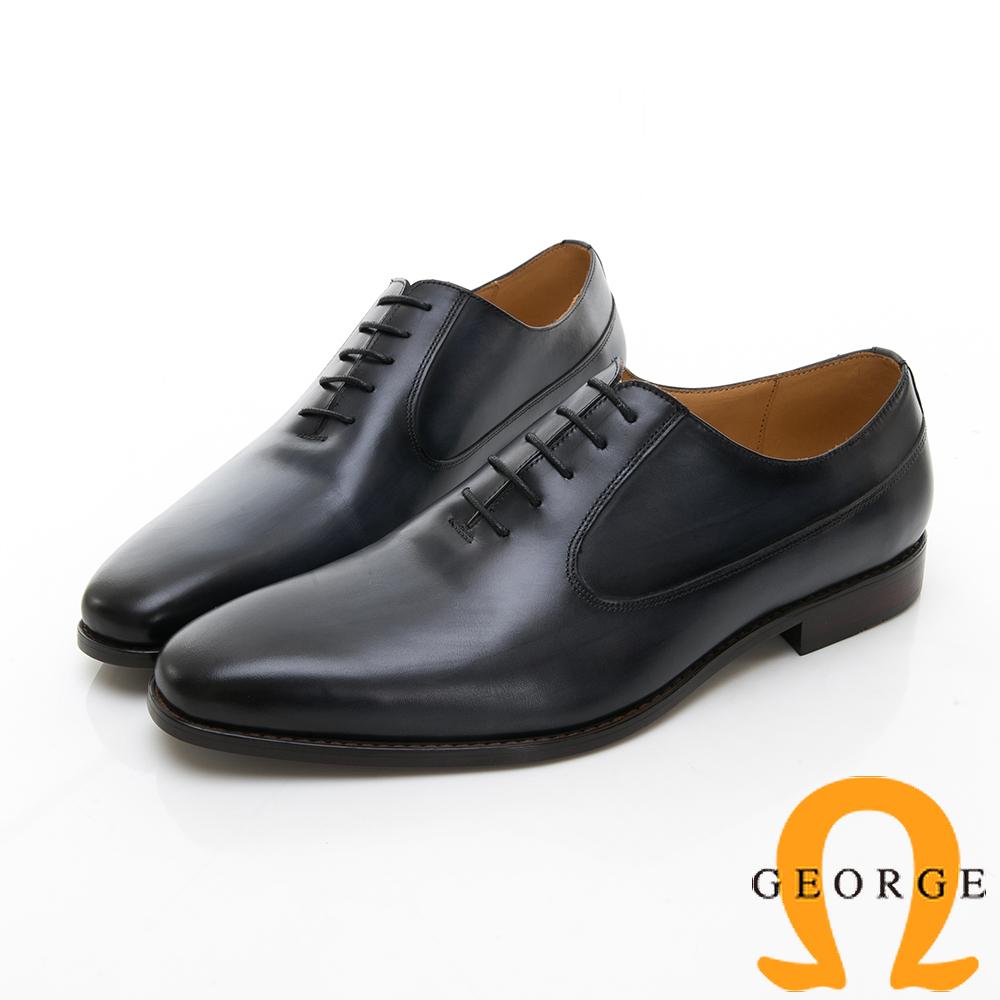 【Amber】商務時尚 素面綁帶紳士皮鞋-藍色