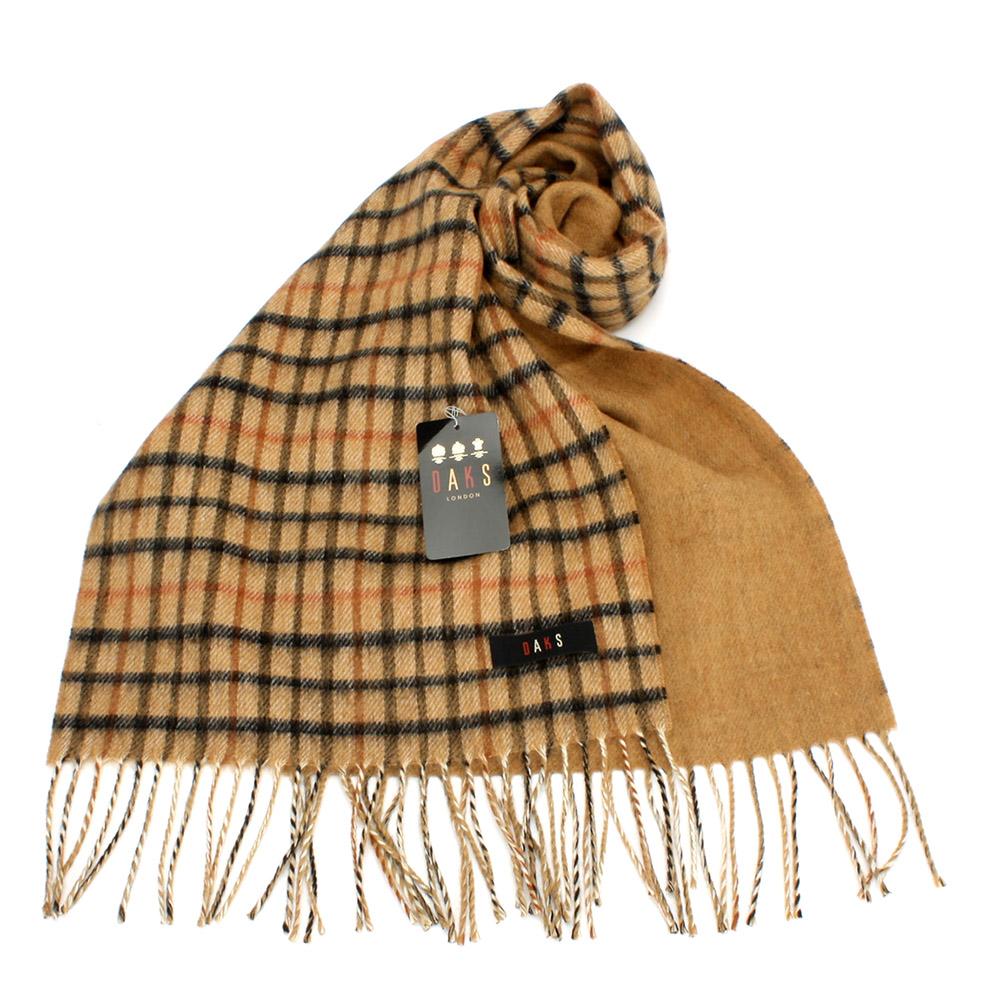DAKS 經典格紋羊毛CASHMERE雙色圍巾-2色任選  1899