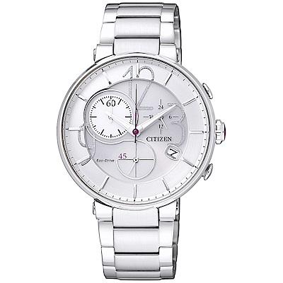 CITIZEN 星辰光動能時尚計時手錶(FB1200-51A)-白X銀/35mm