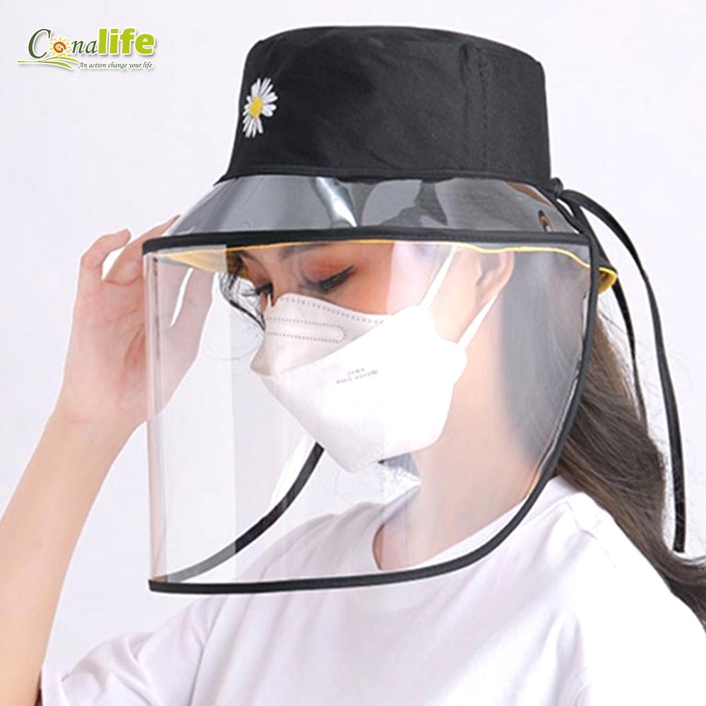Conalife 防疫必備輕量便攜繫繩調節款防飛沫透明面罩(1入)