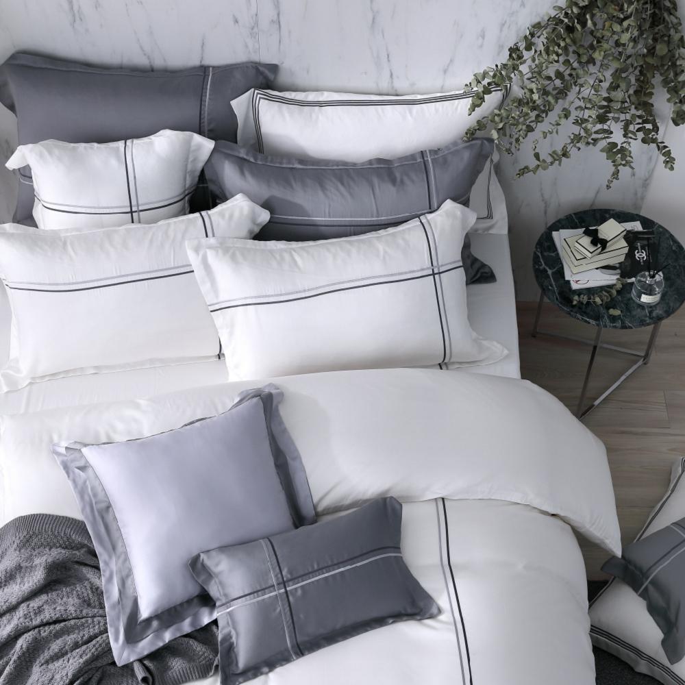 OLIVIA  Alma 白 300織天絲萊賽爾 特大雙人床包歐式枕套三件組