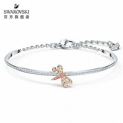 SWAROVSKI 施華洛世奇 Eternal Flower 白金色璀璨粉紅花手鏈