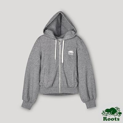 Roots女裝- 椒鹽灰系列 泡泡袖連帽外套-灰色