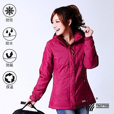 【遊遍天下】GLOBETEX女款顯瘦防水防風保暖90%羽絨外套GJ23018酒紅