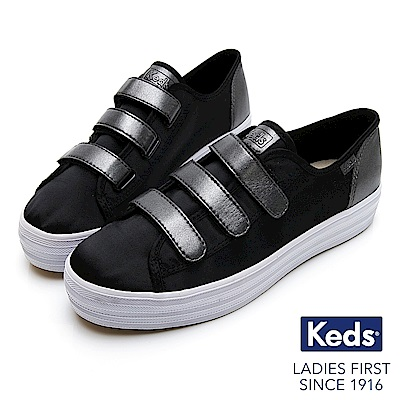 Keds TRIPLE KICK 時尚拼接皮革厚底魔鬼氈休閒鞋-黑