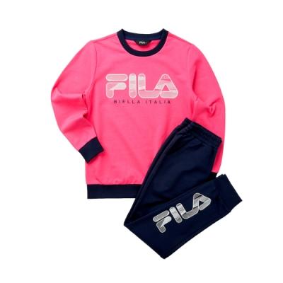 FILA KIDS 童長袖針織套裝-桃色 1WTT-8905-PC