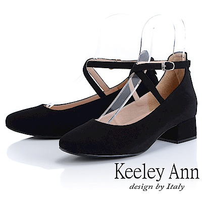 Keeley Ann 氣質甜美~交叉細帶粗跟全真皮瑪莉珍鞋(黑色)