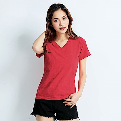 101原創 經典水洗原色V領素T恤-女-玫瑰紅