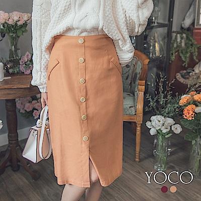 東京著衣-yoco 韓國姊姊優雅排釦造型口袋設計鉛筆裙-S.M.L(共二色)