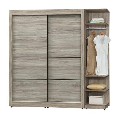 文創集 斯洛比 時尚6.5尺推門衣櫃/收納櫃組合(穿衣鏡+吊衣桿+三抽屜+內開放層格)-195x60x200cm免組