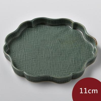 Tojiki Tonya美濃下石陶製花盤11cm-墨綠色