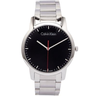 CK簡潔俐落時尚男性手錶(K2G2G141)-黑面X銀色/42mm