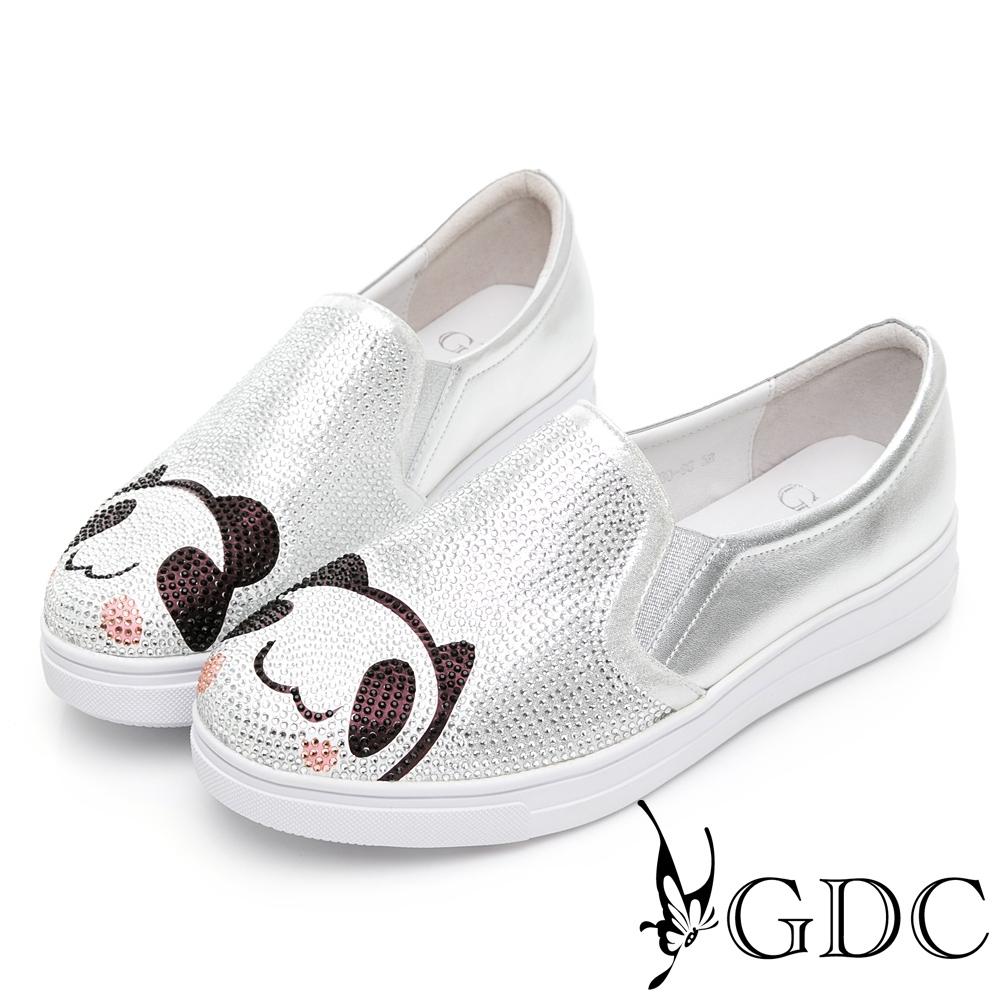 GDC-卡哇伊趣味熊貓閃鑽舒適懶人休閒鞋-銀色